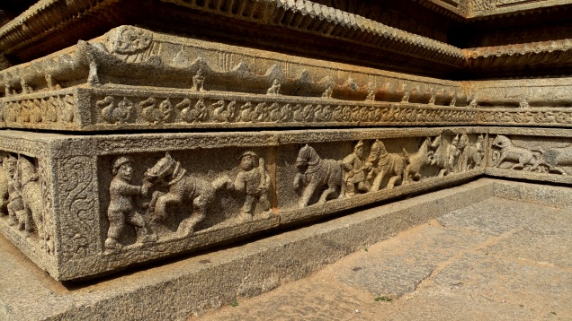 Carvings depicting daily lives